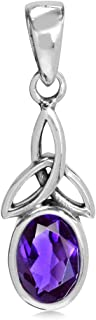 Birthstone Gemstone 925 Sterling Silver Triquetra Celtic Knot Solitaire Pendant