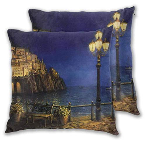 Italy Square Pillow Starry and Romantic Evening at The Coast of Amalfi in Italy Oil Painting Style Cushion Case for Fall Home Decor Navy Blue Brown 16' x 16', Set of 2 (Insert Not Included)