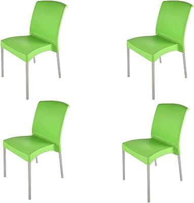 Supreme Hybrid Plastic Chair (Parrot Green, Set of 4)