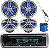Kenwood Marine Boat Outdoor Bluetooth CD MP3 USB/AUX iPod iPhone Stereo Receiver 4x 6.5' Inch Dual Cone Enrock Marine Waterproof Speakers 50 ft Marine Speaker Wire, Antenna (Black/Chrome)