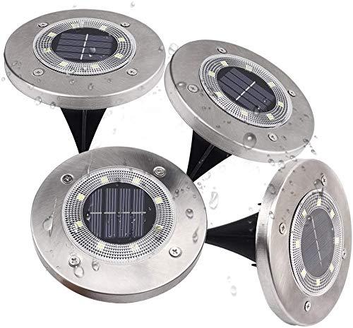 Loekoicy Solar Bodenleuchten, 8 LEDs Solarleuchten für den Außenbereich, 6500K Kaltweiße Gartenleuchten, IP65 Wasserdicht für Rasen, Terrasse, Garten, 4er-Pack [Energieklasse A +]