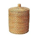 JIAJBG Natural Color Primario Cesto de Mimbre Familia Cesta Decorativa Canasta de Juguete Mimbre Cesta Tejida Cesta de la Cesta con una Tapa Cestos para la Colada Soporte de Lavande