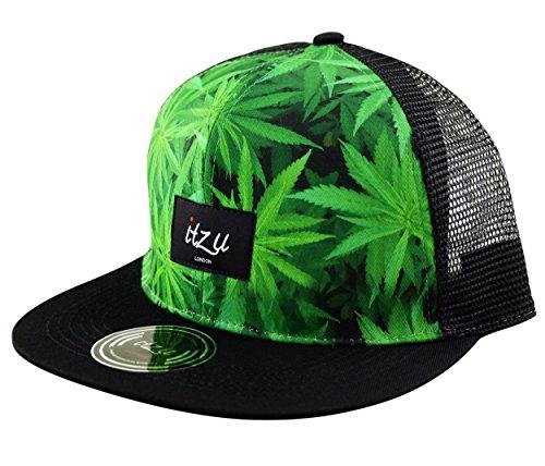 Itzu Snapback Trucker Casquette en maille Chapeau de mauvaises herbes Feuille Visière plate réglable pour adulte pour homme en vert et noir