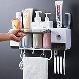 Dispensador Automático de Pasta de Dientes, Soporte Pared y Soporte para Cepillo Dientes Antipolvo, Organizador Cepillos de