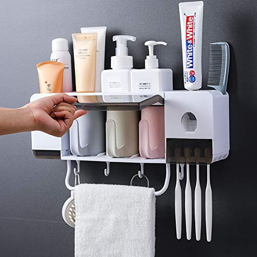 Automatic Toothpaste Dispenser Wall Mounted with Toothbrush Holder, Multi-Functional Space Saving Toothbrush Organizer with 3 Cups, No Drill Need, 4 Brush Slots and Towel Bar No Drill Need (3 Cups)