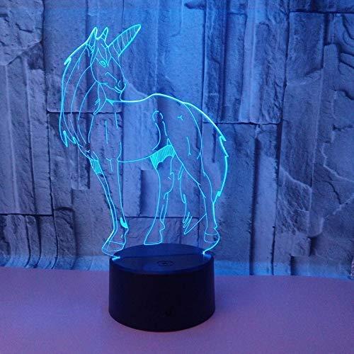 3D LED nachtlampje met bewegingsmelder 7 kleuren dieren paard pony Unicorn Home tafel Decor lampen kinderen geschenk kinderen