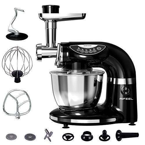 Aifeel 1000W Batidora Amasadora 7L Robot de Cocina 7 en 1 Multifunción Amasadora de Pan Para Repostería con 3 accesorios de mezcla, Picadora, kit de salchicha, máquina para hacer pasta y galletas