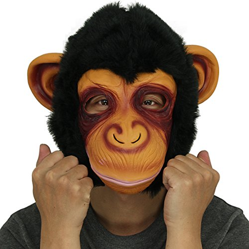 Novelty Latex Rubber Creepy Chimp Monkey Gorilla Head Mask Halloween Party Costume Decorations Black