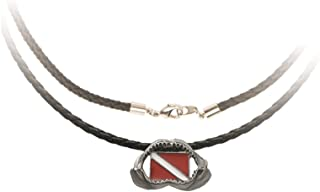 """Innovative Scuba Concepts Shark Jaw Dive Flag Pewter Necklace with 17"""" Cord, GP7205"""