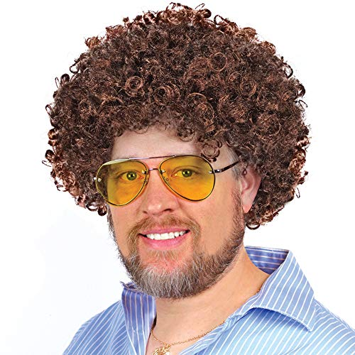 Brown Costume Afro Wig, Bob Ross Wig- for Men, Women, and Kids Bob Ross Costume, Halloween Party & Play