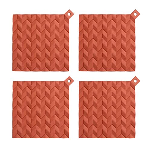 Coasters for Drinks Home Dining Mat Coaster Silicone Pot Holder Multipurpose Non-Slip Insulation Geometric Rhombus Rubber Hot Pads Heat Resistant Antislip Place Mat, Pack of 4 Cup Coasters
