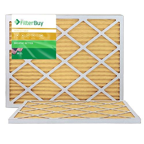FilterBuy 20x24x1 Air Filter MERV 11, Pleated HVAC AC Furnace Filters (2-Pack, Gold)