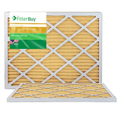 FilterBuy 20x30x1 MERV 11 Pleated AC Furnace Air Filter, (Pack of 2 Filters), 20x30x1 – Gold