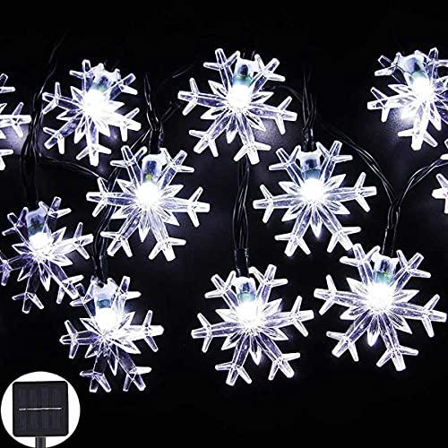 Guirnaldas Luces Exterior Solar Luces de Cadena al Aire Libre de Copo de Nieve de Navidad Solar, 3 Colores Impermeables, para Fiesta, Patio, Navidad, jardín, Patio, Boda Interior/al Aire Libre Luces