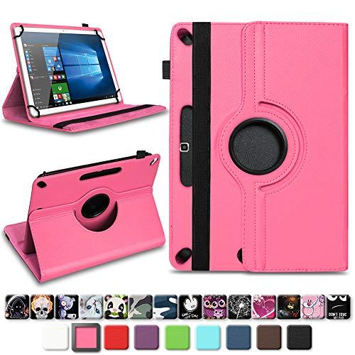 NAUC Robuste Universal Schutzhülle für Trekstor Surftab B10 Tablet Hülle aus hochwertigem Kunstleder Hülle 10.1 Zoll Schutz Tasche Standfunktion 360° Drehbar Farbauswahl, Farben:Pink