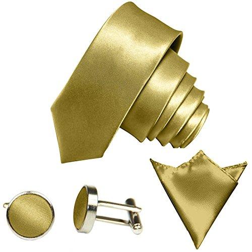 GASSANI GASSANI 3Tlg Krawatten-Set, 6Cm Skinny Schmale Goldene Herren-Krawatte Dünn Manschettenknöpfe Ein-Stecktuch, Bräutigam Hochzeitskrawatte Glänzend
