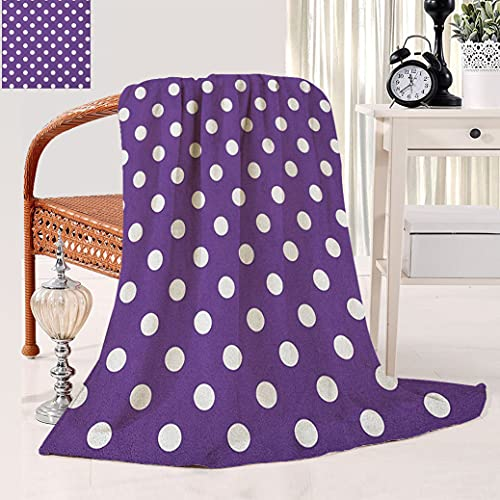 eggplant throw blankets Eggplant Throw a Blanket Polish White Orderly Polka Dots and Purple Background with Traditional Pattern Travel Throw Blanket 60 x 80 inch Purple White