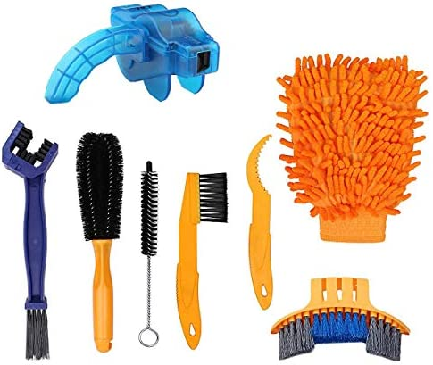 Techson Bicycle Clean Brush Kit 8 PCS Bike Motorcycle Chain Cleaning Tool Set Cycling Corner product image