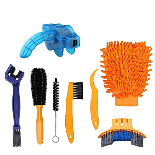 Techson Bicycle Clean Brush Kit, 8 PCS Bike Motorcycle Chain Cleaning Tool Set, Cycling Corner Stain Dirt Clean for Bike Chain/Crank/Tire/Sprocket