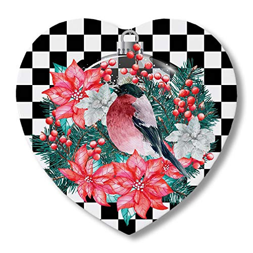 Set of 4 Drinks Ceramic Coasters Merry Christmas Robin Birds and Wreath Lamp Vintage Buffalo Check 4.1' Absorbent Heart Shape Cork Backing Ceramic Coastersfor Any Table Type