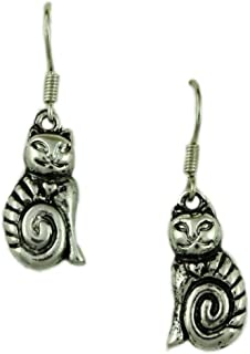Antique Silver-tone Dangling Cat Pierced Earring