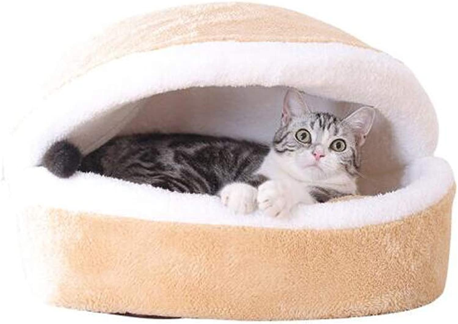Shell Dog Bed, Stuffed Cotton Cat Nest Winter 360° Warm Closed Mat Sleeping Bag Thick Nest Pad Washable (Size   M.52x40x30cm)