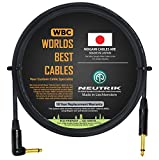 6 Foot - Guitar Bass Instrument Cable Custom Made by WORLDS BEST CABLES – Using Mogami 2524 Wire and Neutrik NP2RX-B & NP2X-B ¼ Inch (6.35mm) Gold TS Connectors