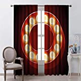 hengshu Wide Window Curtains 63 Inches Long Vegas Old Theater Multicolor Bedroom Curtains for School 63x63 Inch