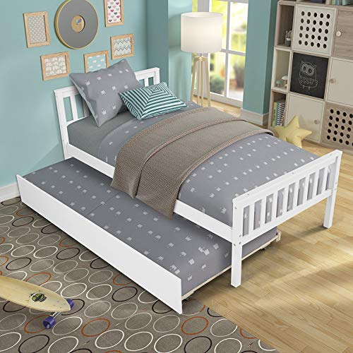 Twin Bed with Trundle Wood Platform Bed Frame with Headboard and Footboard Captains Bed for Bedroom Small Living Space, Wood Slat Support No Box Spring Needed