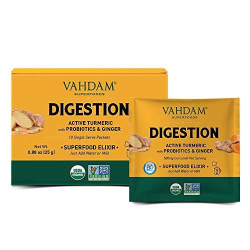 VAHDAM, Digestion Superfood Elixir Mix - 10 Portionen | USDA Certified Organic | Aktive Kurkuma mit Probiotika & Ingwer | 100% Bio | Aktiv Probiotisch, Vegan & Keto-Freundlich