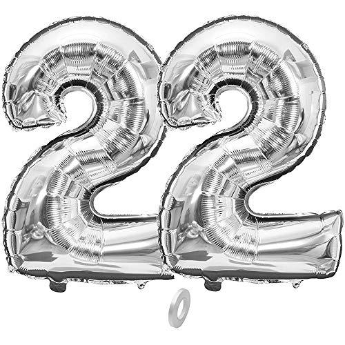 Jurxy Geburtstag Folienballon Helium Folie Luftballons Silber Anzahl Luftballons Zahl für Geburtstag Jubiläum 40 Zoll - Silber 22
