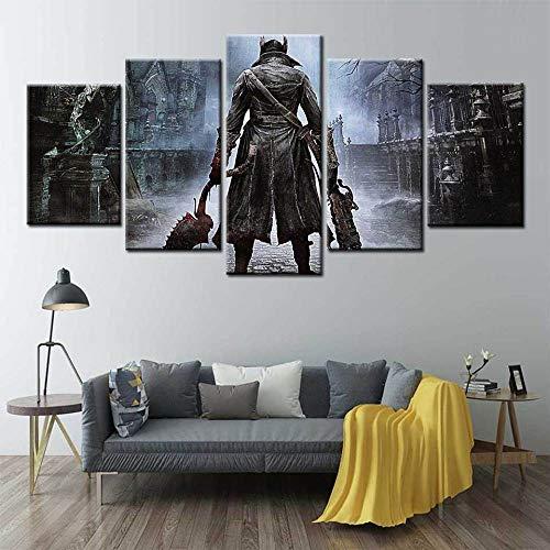 ADGUH 5BilderLeinwanBloodborne Poster Hot Videospiel Anime Kampf Wandkunst Leinwand Malerei wandbilder für Wohnzimmer Wohnkultur Poster5 Drucke auf Leinwand