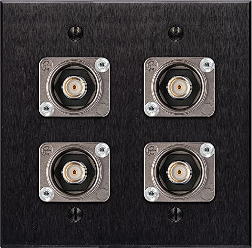 My Custom Shop WPBA-2108-NB 2-Gang Black Anodized Wall Plate with 4 Neutrik 12G-SDI Recessed BNC Barrels