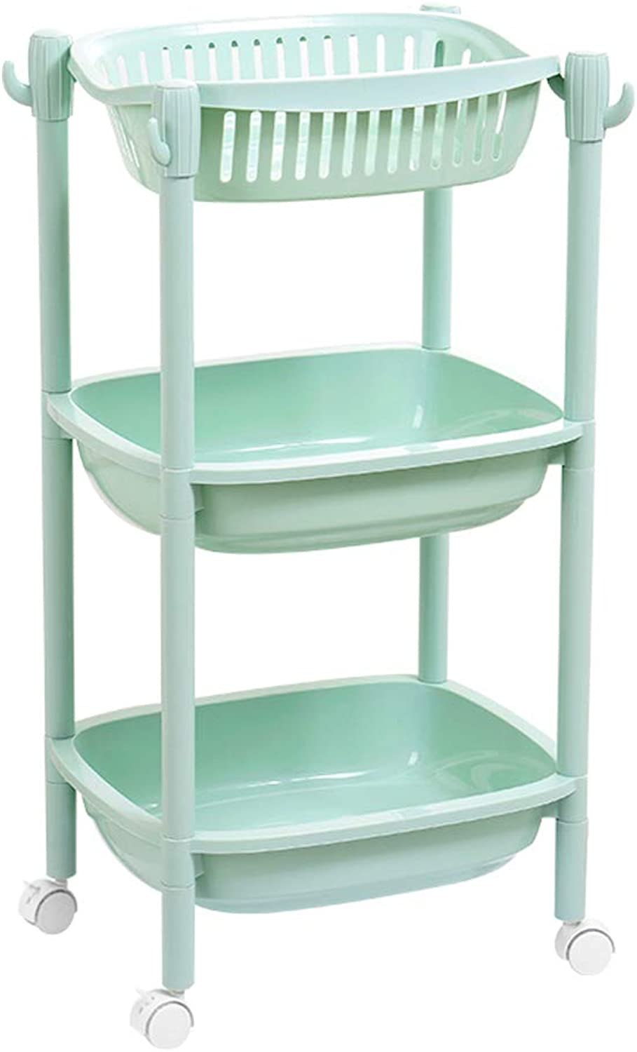 Slide Out Removable Storage Tower Kitchen Bedroom Storage Rack Bathroom Shelf with Wheels Green (Size   3 Tier)