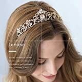 jovono Hochzeit Kronen und Tiaras für Brautschmuck Diadem gold CROWN mit weißem Strass für Frauen und Mädchen