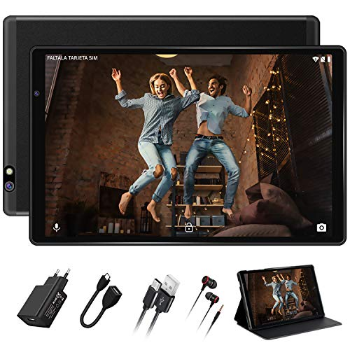 Tablet 10 Pulgadas FACETEL Q3 Android 9.0 4GB RAM+64GB ROM,Tablet PC 5.0+8.0 MP HD la Cámara ,Certificación Google gsm,1280*800 Full HD Display,Bluetooth,WiFi,GPS,FM-Negro