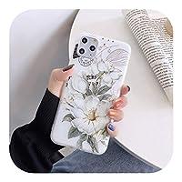 Perqo iPhone 12 11 Pro max X XR XS MAX SE 2020 6S 78プラスホワイトケース用のファッションエンボスローズフラワーフロストソフトフォンケース-Style 5-For iphone XS MAX