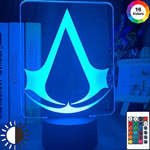 Lámpara de ilusión 3D Led Night Light Game Assasins Creed Logo Acrílico Night Light para niños Dormitorio Decoración Home Night Light Cool Usb Battery Lámpara de escritorio