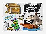 Alfombrilla de baño pirata, cofre del tesoro de grupo temático pirata, bandera de Jolly Roger, machete de barco, dibujos animados de loro, alfombra de felpa para decoración de baño con respaldo antide