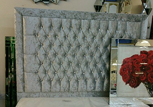Elegant Beds 32' inch BARCELONA Crushed Velvet Headboard TOP STYLE QUALITY ITEM (4FT6 Double, Silver)