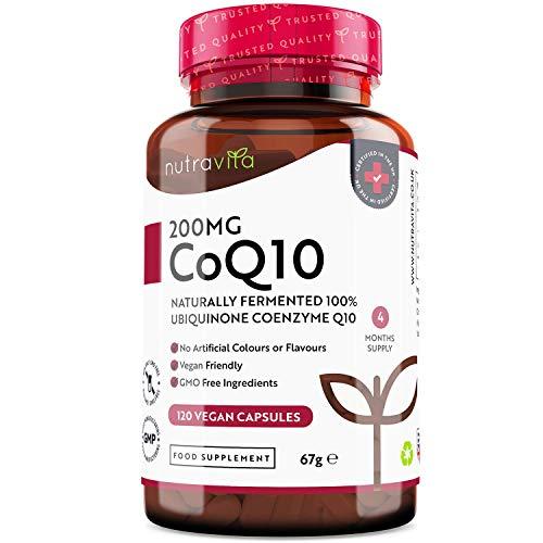 Coenzima Q10 200 mg - Ubichinone Puro al 100% - 120 Capsule Vegane di CoQ10 ad Alto Dosaggio - Fornitura di 4 Mesi -Ubichinone Fermentato Naturalmente - Prodotto nel Regno Unito da Nutravita