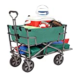 Mac Sports Double Decker Heavy Duty Steel Frame Collapsible Outdoor 150 Pound Capacity Yard Cart Utility Garden Wagon with Lower Storage Shelf, Green