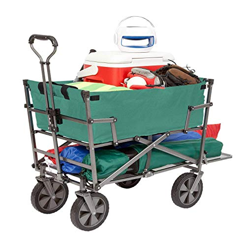 Mac Sports Heavy Duty Steel Double Decker Collapsible Yard Cart Wagon, Green