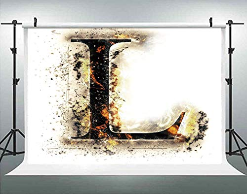 ALUONI 5x3ft Letter L,Fire Letter Capital L Alphabet Blazing Symbol Scorched Backdrop for Photography Photo Background for Family Party Pictures Customized Photo Booth Studio Props AM020793