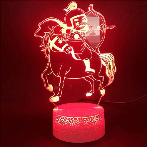Diapositiva 3D llevó la luz de la noche al caballo tiro con arco único colorido y cambiable modelo de los niños juguete aprendizaje lámpara de escritorio 16 colores
