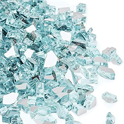 Future Way 20LB Reflective Tempered Fire Glass 1/2 Inch, Sparkly Caribbean Blue, Propane or Natural Gas Fire Pit or Fireplace Filler