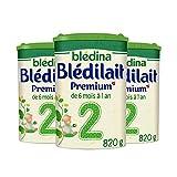 Blédina Blédilait Premium 2 (2 ème âge) - Pack de 3 Boîtes de 820 g -...