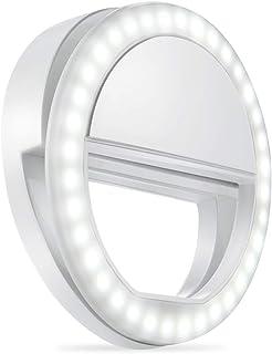 自撮りライト クリップ式自撮りリングライト 明るさと角度調節でき 軽量で持ち運び便利 明るさ調節でき いかなるスマートフォンカメラ通用でき (電池式)