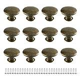 JINXM 12 Piezas Pomo de Armario Redondos 30mm Tiradores de Muebles Pomos de Puerta Perillas de Cajón para Comodas Gabinete Tocador Aparador Cocina