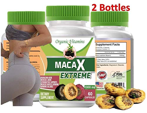 Maca XL 120 Capsules Total 2 Bottles of 60 Capsules Original Pill Super maca Extreme XL Shape Buttocks Bigger Butt Booty Shaper 60 Capsules Plus Free Extra 60 Capsules 2 Bottles